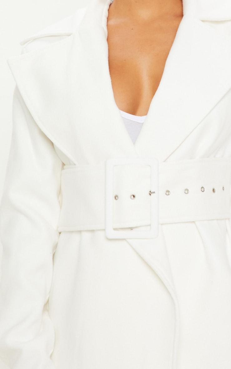 Petite - Manteau crème à ceinture 5
