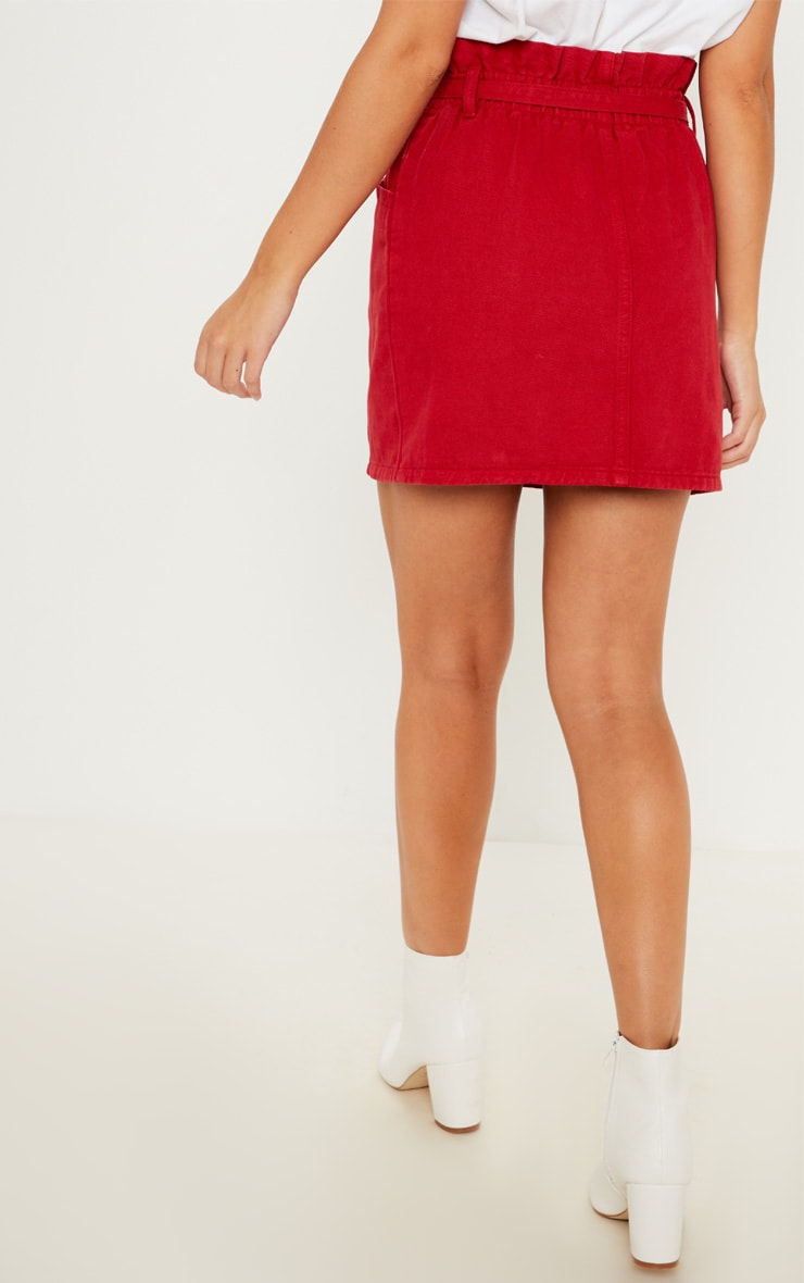 Red Paperbag Waist Denim Skirt  4