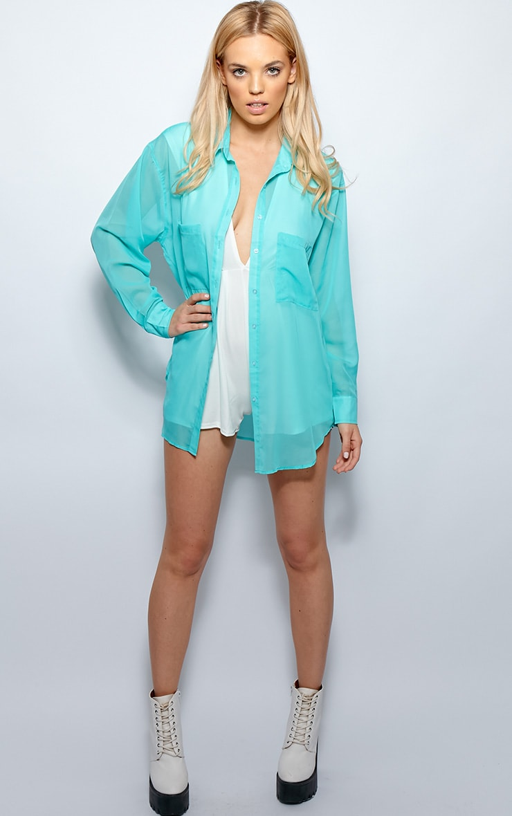 Esme Turquoise Sheer Oversized Shirt 2