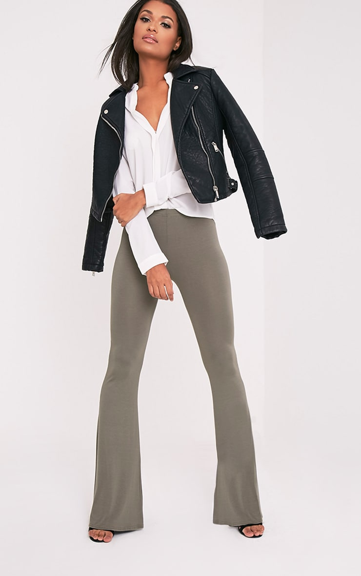 Basic Khaki Jersey Flared Trousers 1