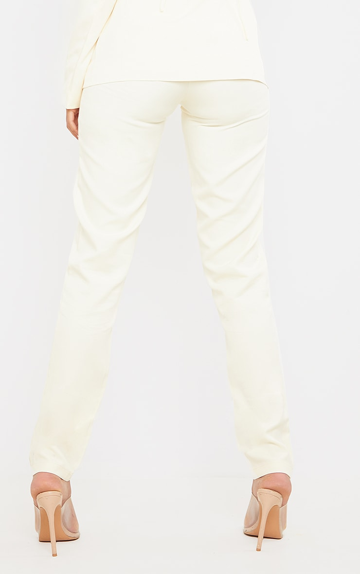 Tall  Cream High Waisted Suit Pants 3