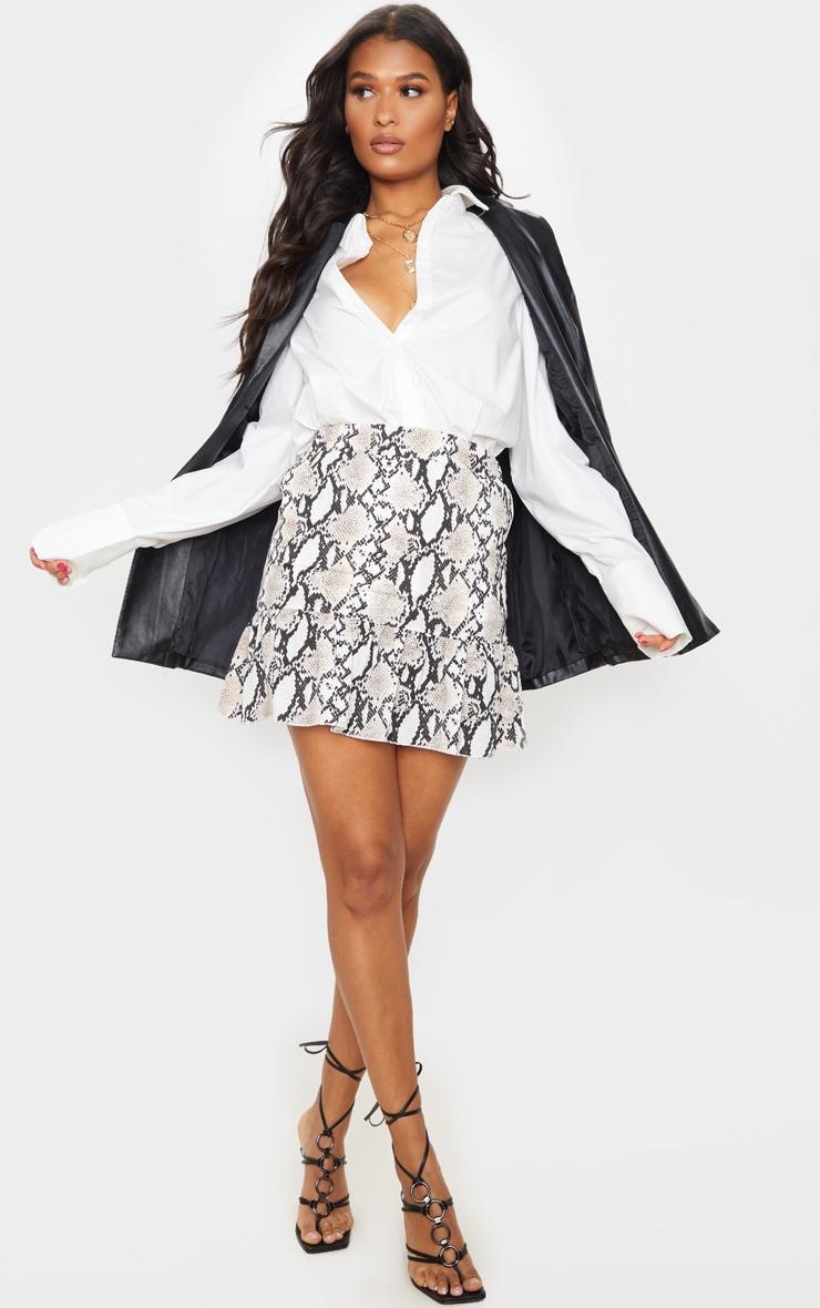 Grey Snake Print Frill Hem Skirt 1