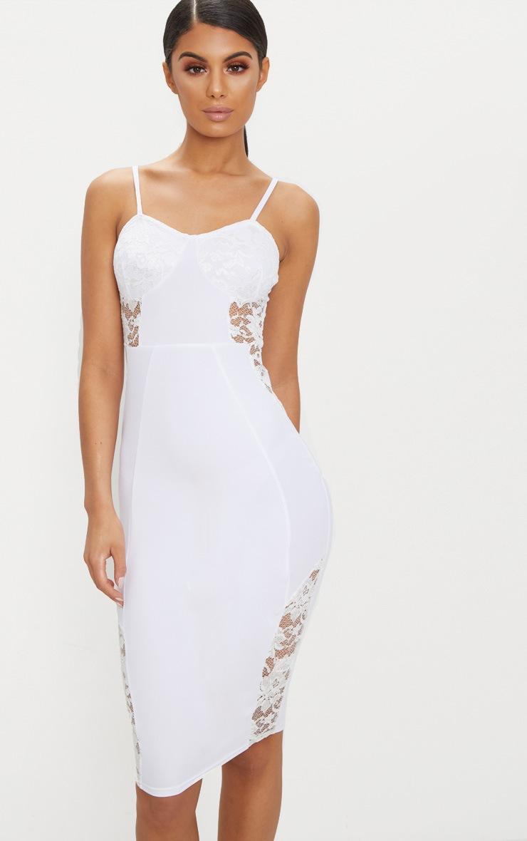 White Strappy Lace Panel Midi Dress 4