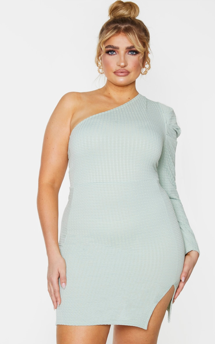 Plus Sage Green Textured Puff Sleeve One Shoulder Bodycon Dress 1