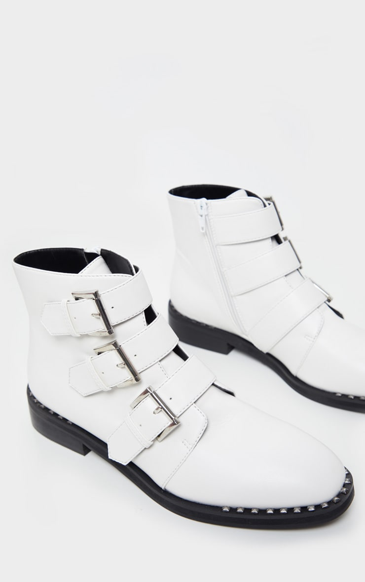 White Triple Buckle Ankle Boot 3