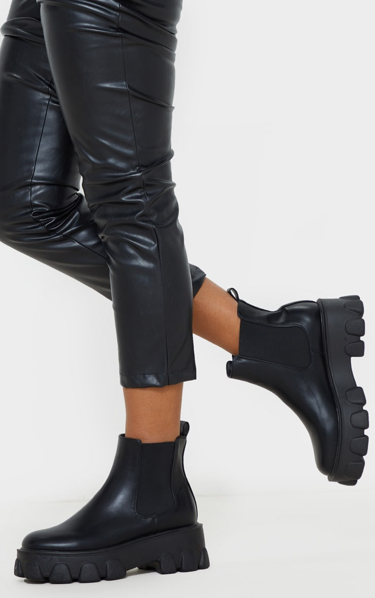 Black Chunky Heavy Cleated Sole Chelsea Ankle Boot 2