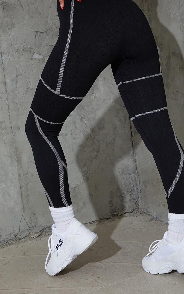 Black Linear Detail Seamless Gym Leggings 3