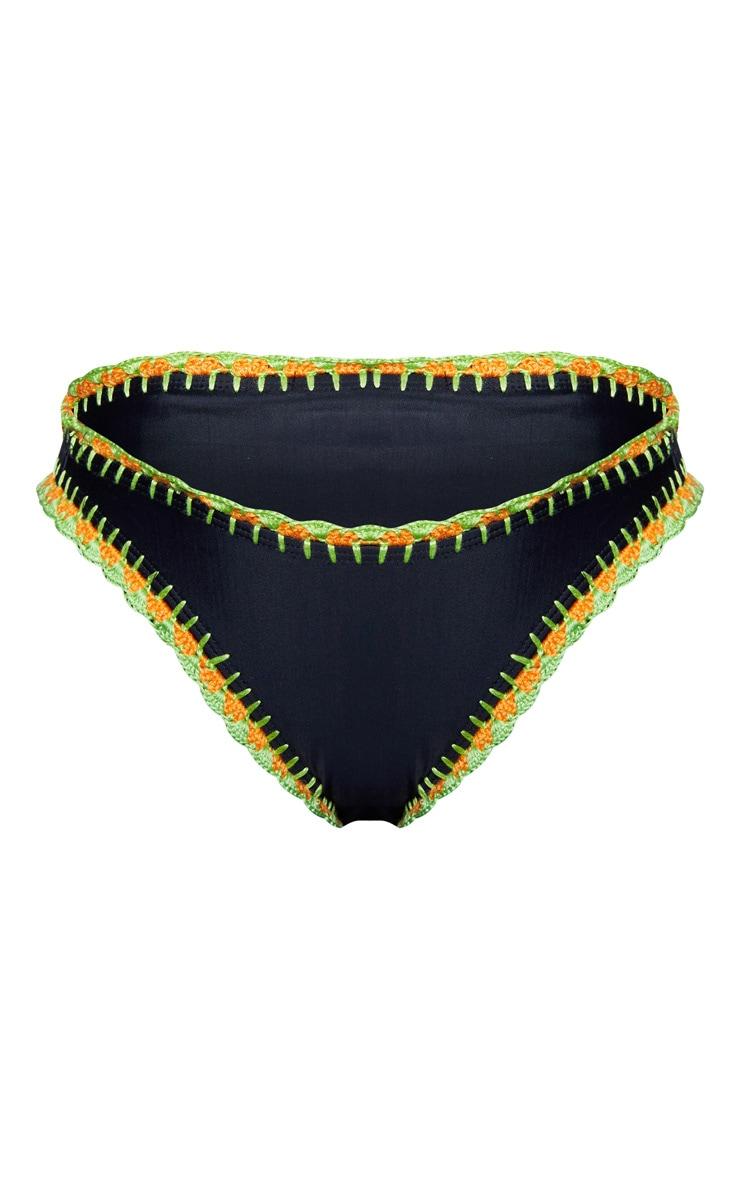 Black High Leg Crochet Trim Bikini Bottom 3