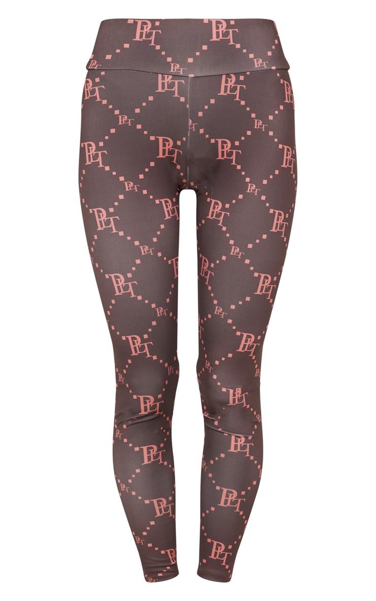 Chocolate PRETTYLITTLETHING Monogram Gym Legging 3