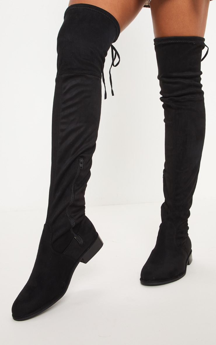 Black Flat Over The Knee Boot 1
