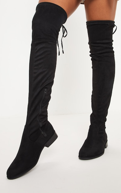 Black Flat Over The Knee Boot