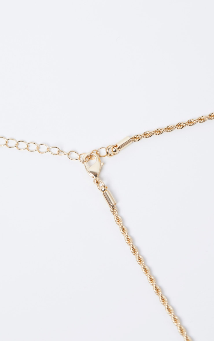 Gold F Bamboo Letter Necklace 5