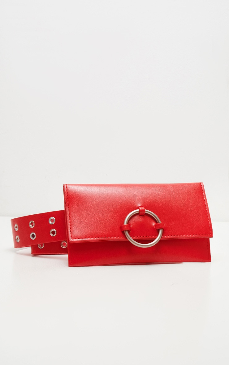Red Eyelet Ring Belted Bum Bag 2