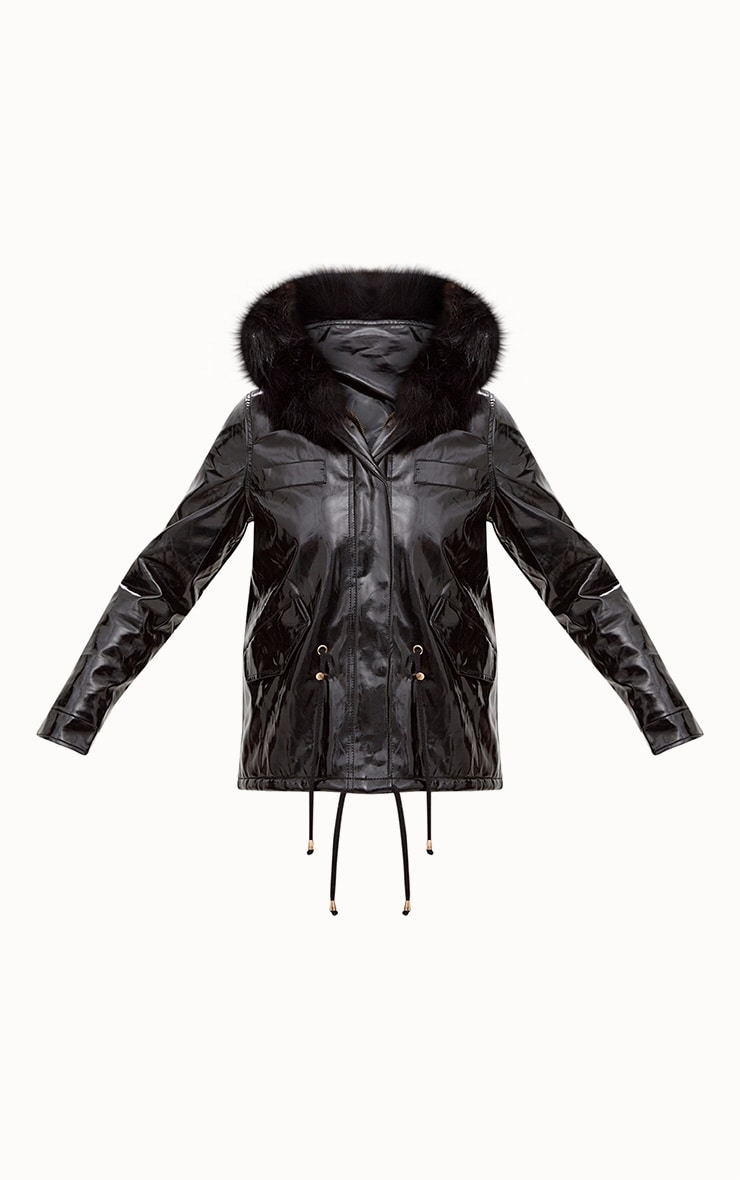Black Vinyl Faux Fur Trimmed Hooded Coat 3