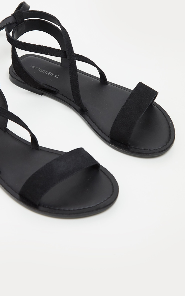 Black Basic Leather Sandal 3