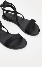 Black Basic Leather Sandal 3