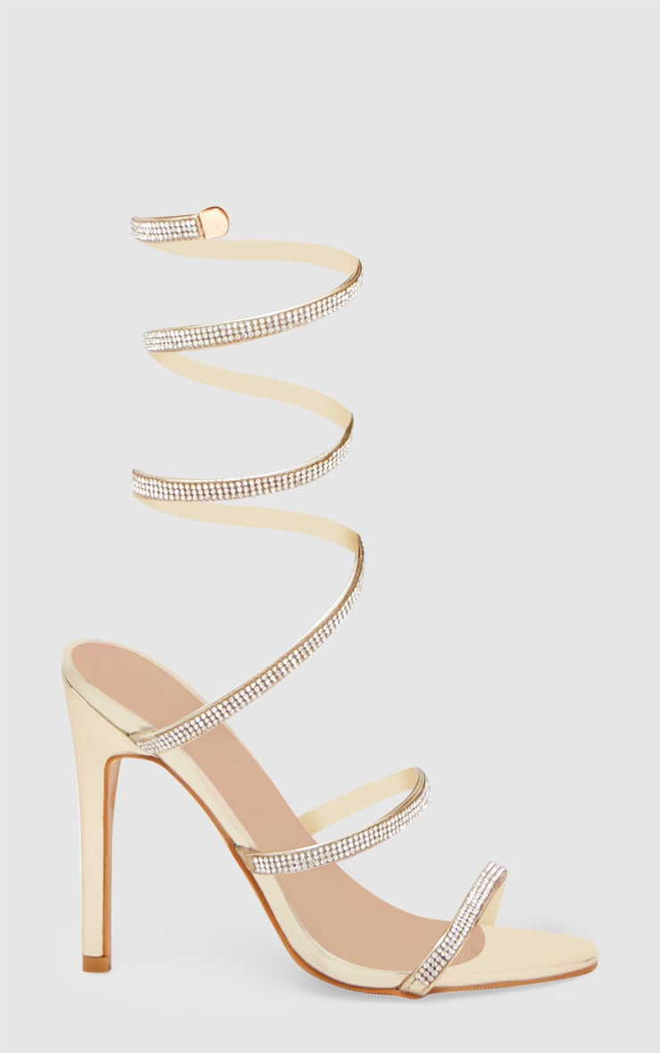 Gold Diamante Wrap Strap High Heeled Sandal 3