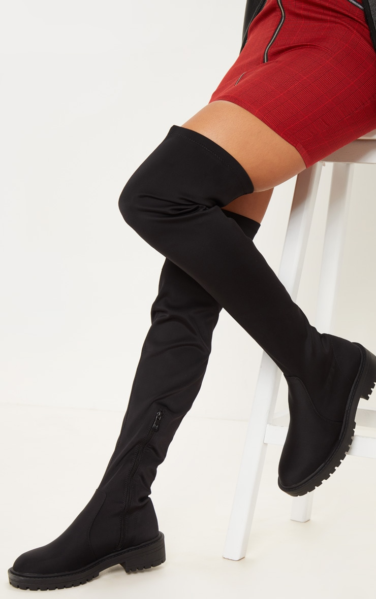 Black Lycra Cleated Over The Knee Boot
