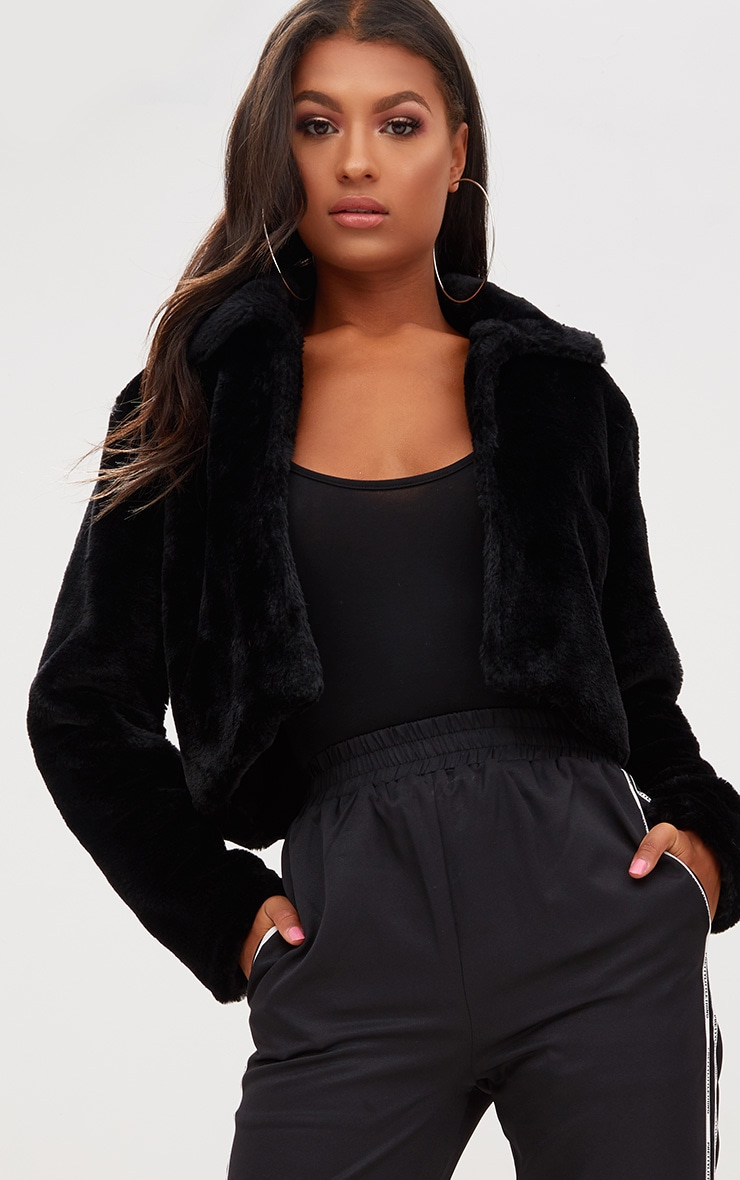 Black Cropped Faux Fur Coat