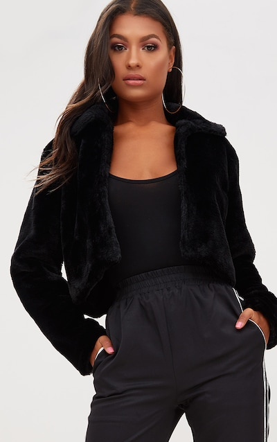 8b7a4446bb0a9 Black Cropped Faux Fur Coat
