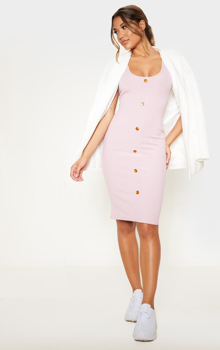 Dusty Lilac Ribbed Scoop Tortoise Shell Button Bodycon Dress 1