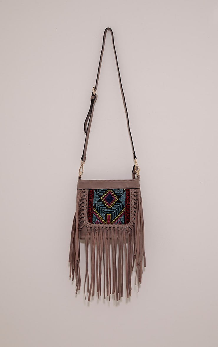 Serena Purple PU Tapestry Fringe Bag 1