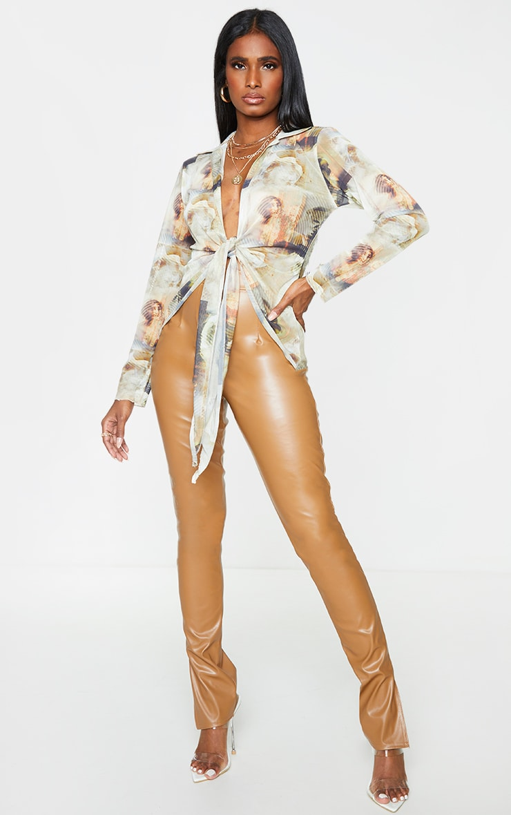 Nude Mesh Abstract Renaissance Print Plunge Tie Front Long Sleeve Shirt 3