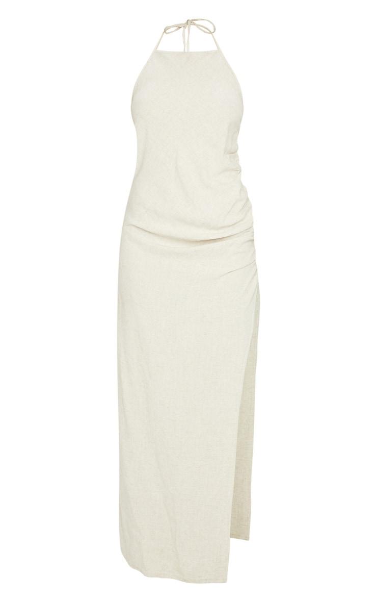 Beige Linen Feel Halterneck Ruched Side Split Midaxi Dress 1