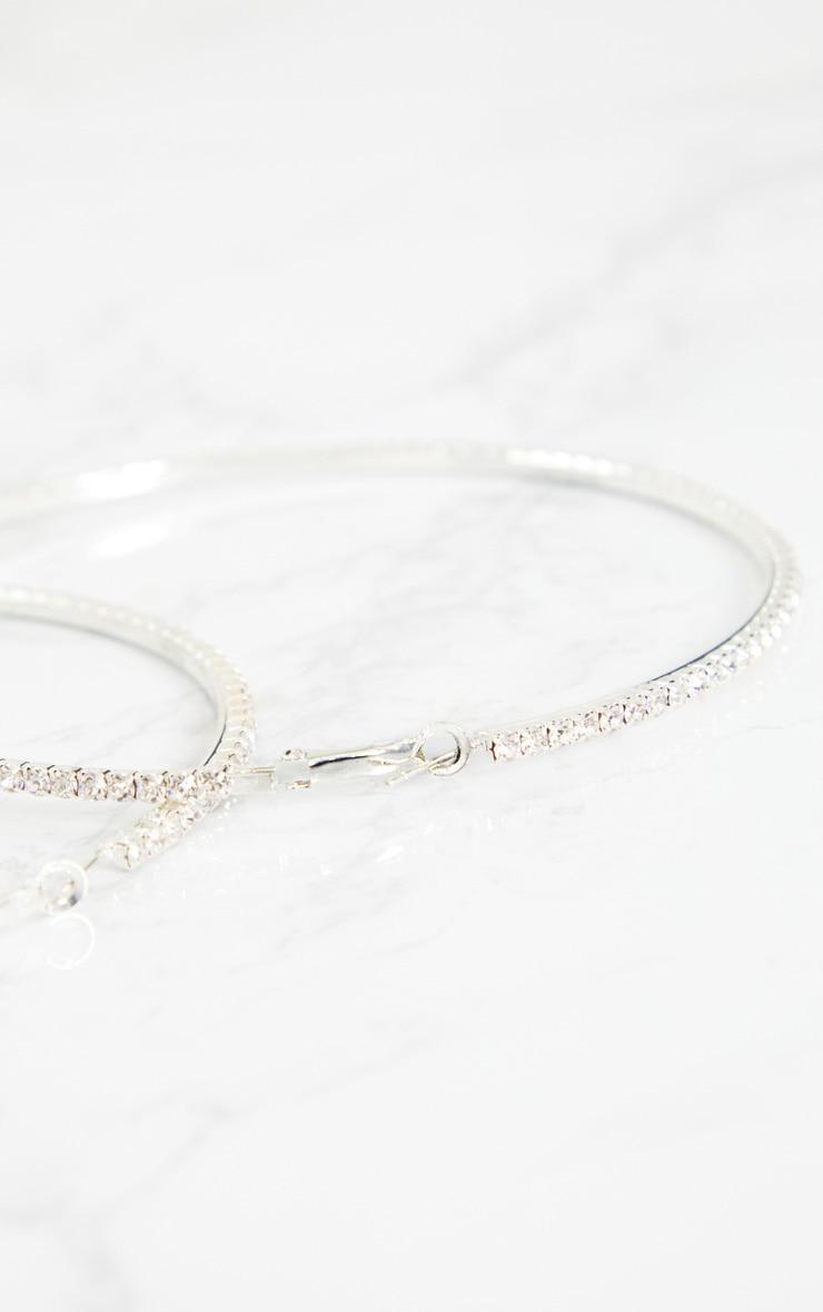 Silver Oversized Diamante Hoop Earrings 5