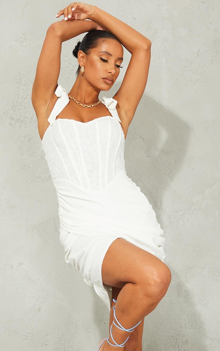 White Lace Corset Detail Wrap Bodycon Dress 1