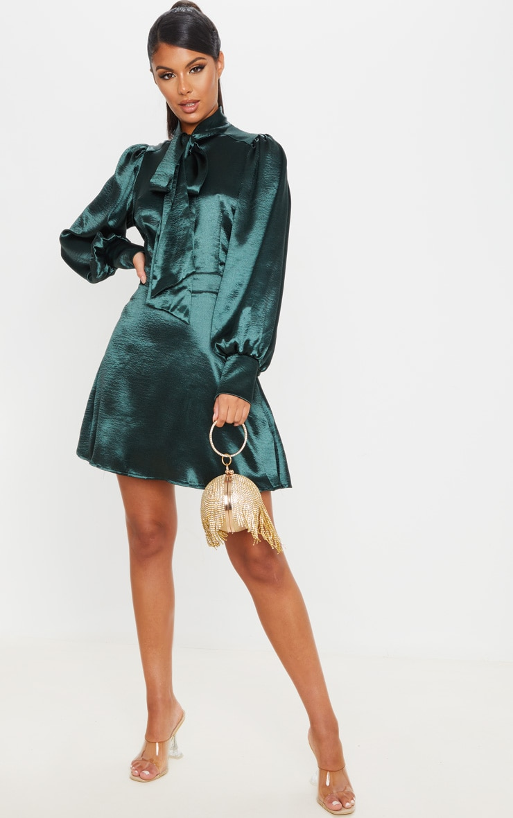 Emerald Green Satin Bow Neck Skater Dress 1