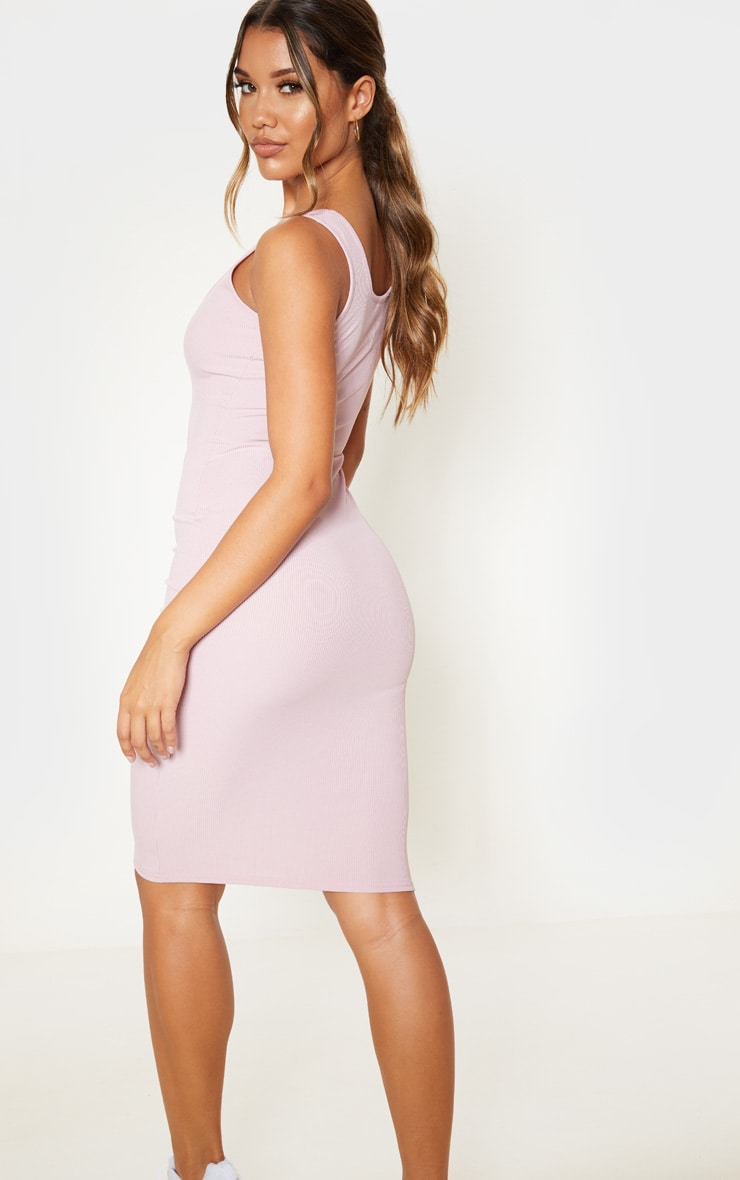 White Ribbed Scoop Tortoise Shell Button Down Bodycon Dress 2