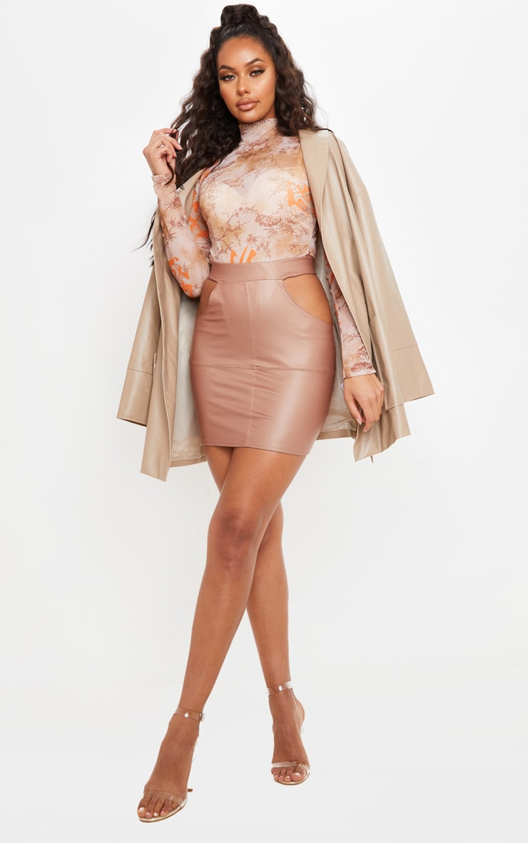 Taupe Faux Leather Cut Out Detail Mini Skirt  5
