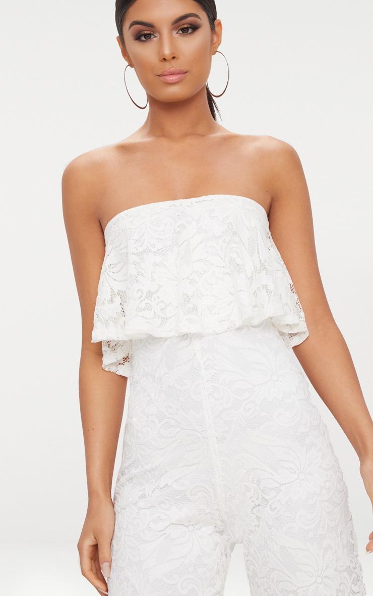 4b787cbbf75 White Lace Bandeau Double Layer Culotte Jumpsuit image 4. Next