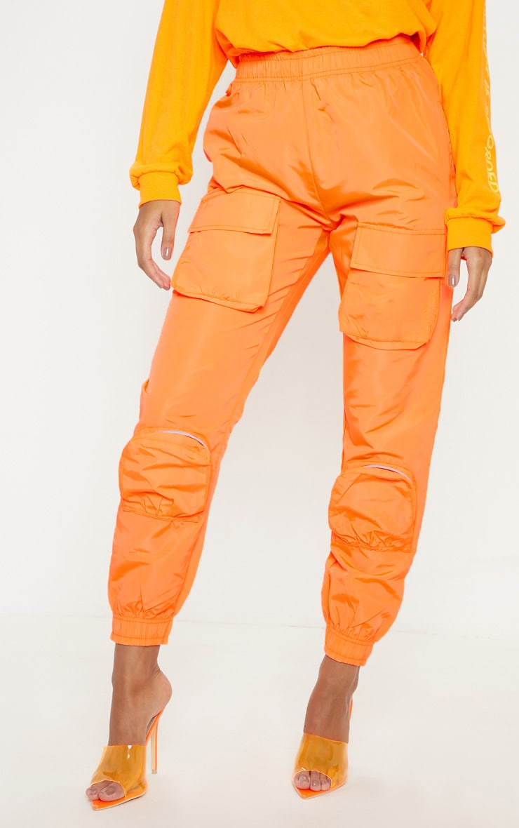 Neon Orange Shell 3D Pocket Detail Jogger  2