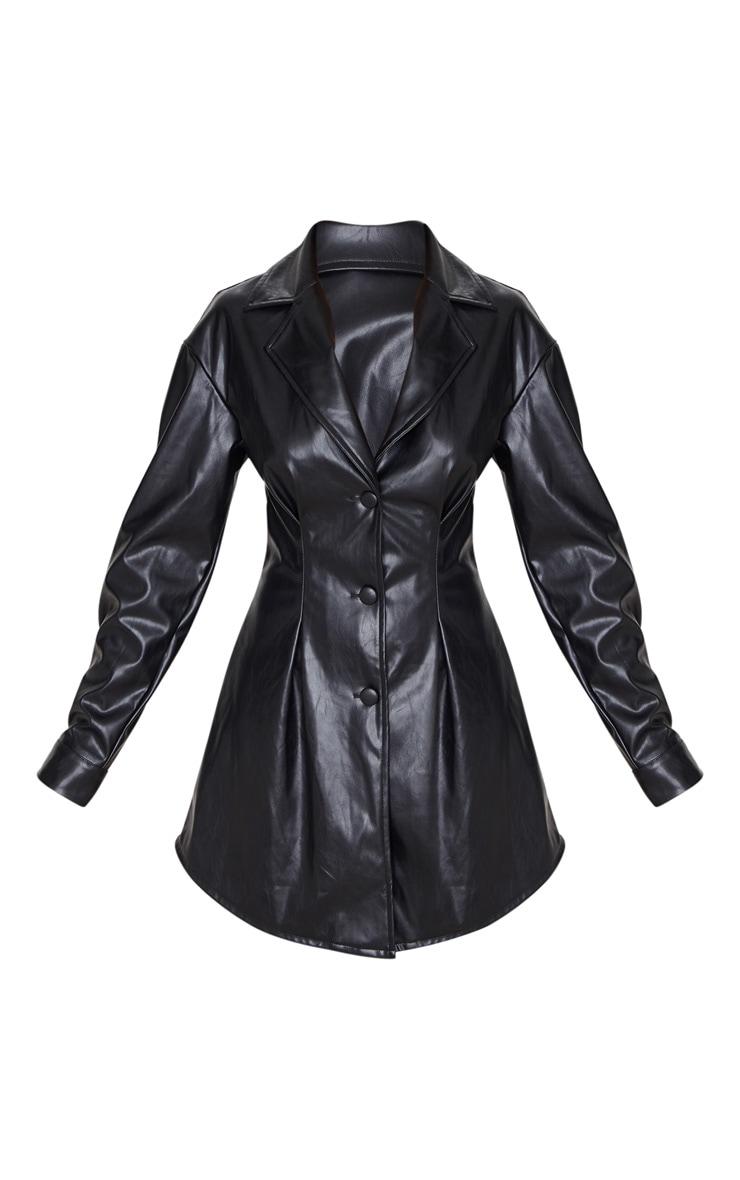 Petite Black PU Nipped Waist Shirt Dress 3