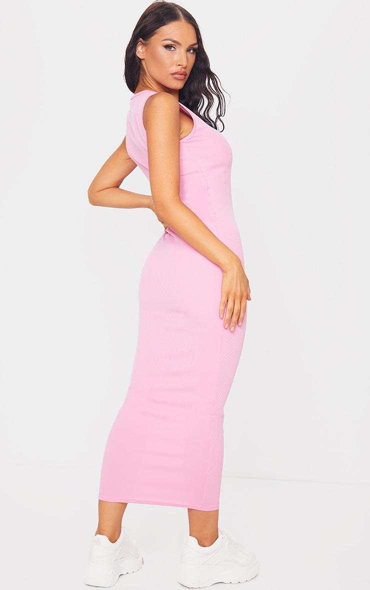 Pink Basic Rib Maxi Dress 2