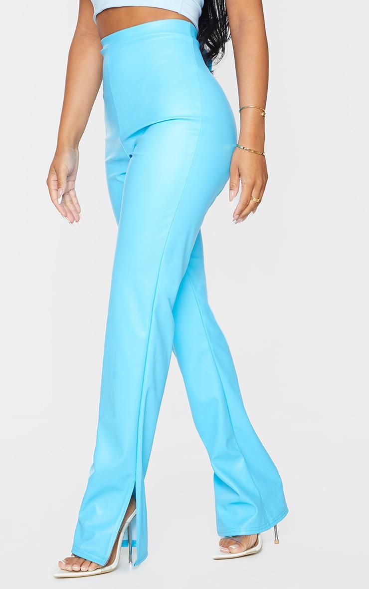 Petite Aqua Faux Leather Split Hem Pants 2