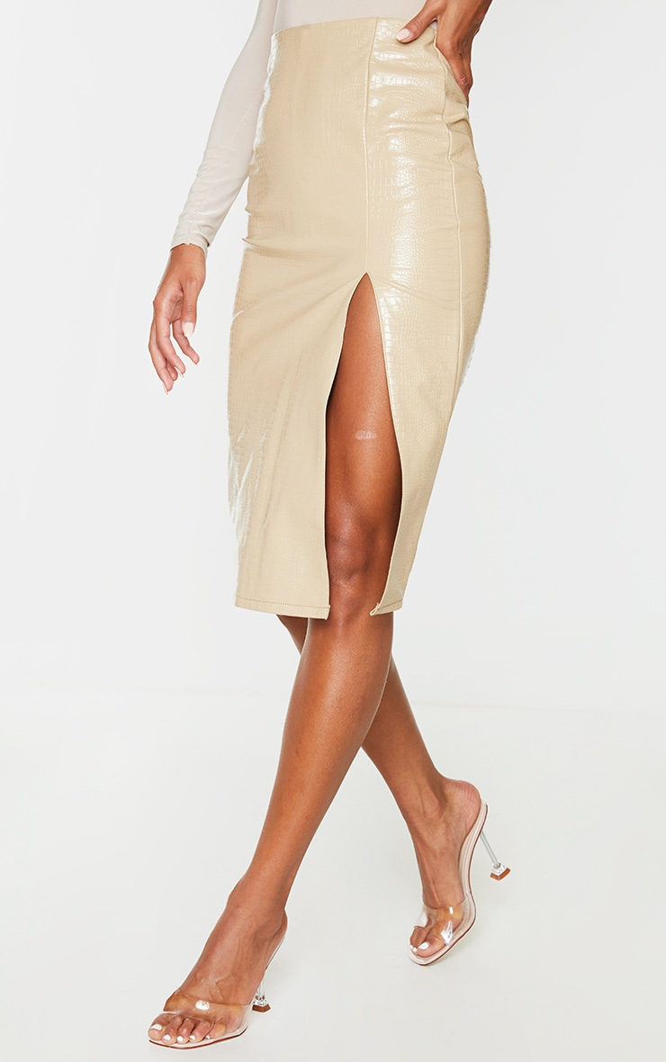 Stone Faux Leather Croc Midi Skirt 2