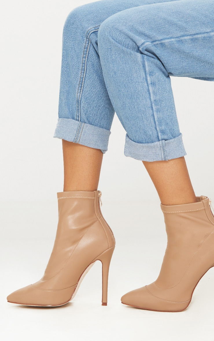 Warm Beige PU Pointed Ankle Sock Boot 3