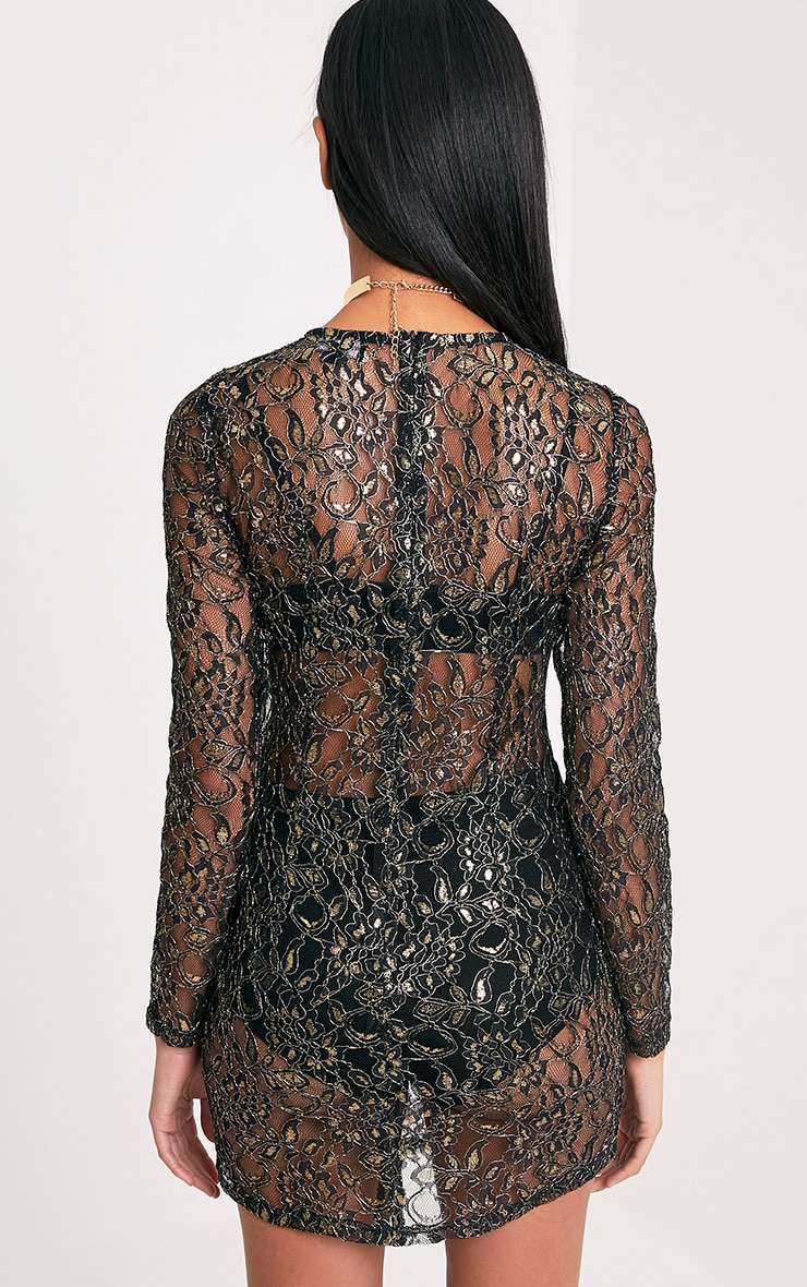 Diania Black Sheer Lace Long Sleeve Shift Dress 2