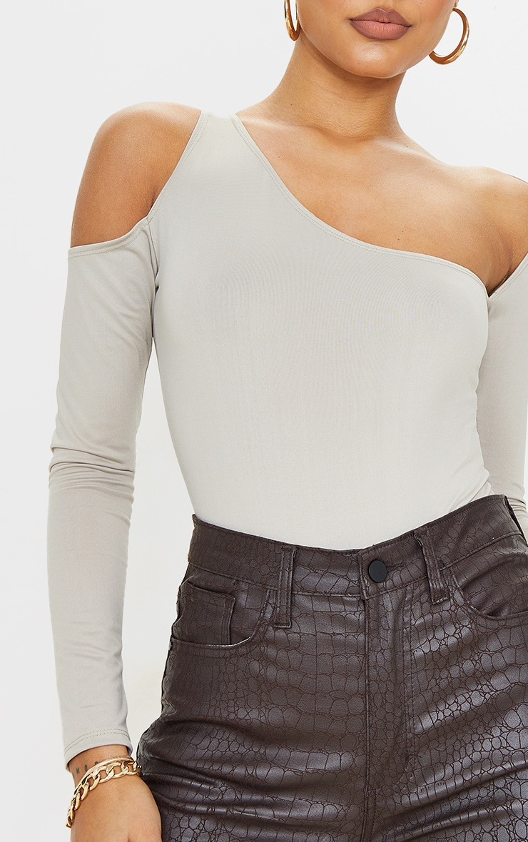 Stone Slinky Asymmetric Neck Long Sleeve Bodysuit 4