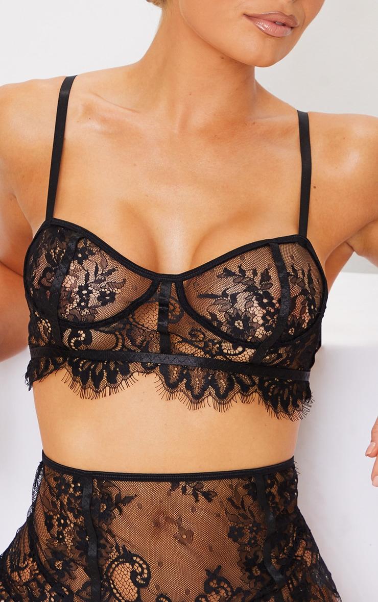 Black Lace Binding Detail 3 Piece Lingerie Set 4