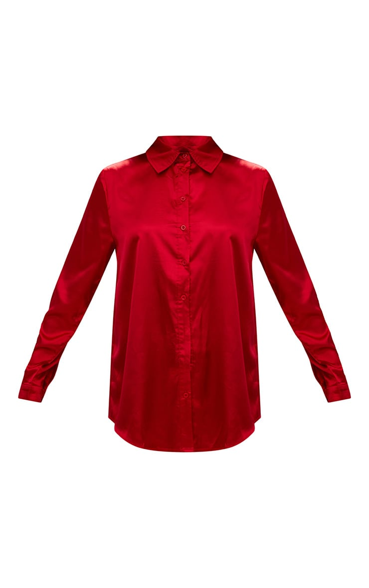 Red Satin Button Front Shirt 3