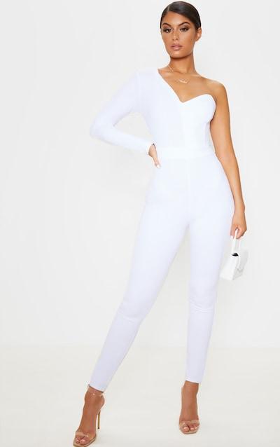 White One Shoulder Straight Leg Jumpsuit