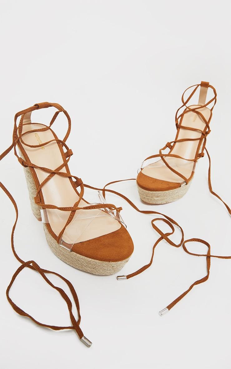 Tan Espadrille Platform Ghillie Lace Up Sandals 3