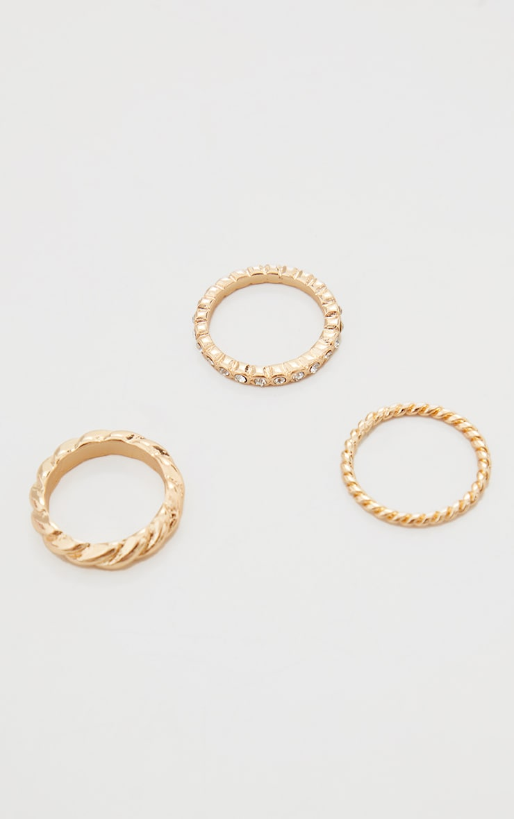 Gold 3 Pain Twist And Diamante Rings 1