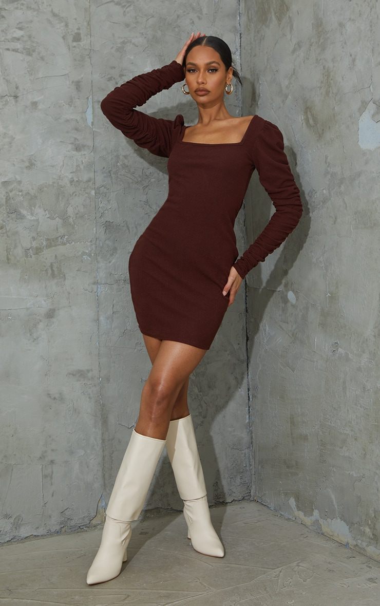 Chocolate Crinkle Rib Ruched Sleeve Square Neck Bodycon Dress 3