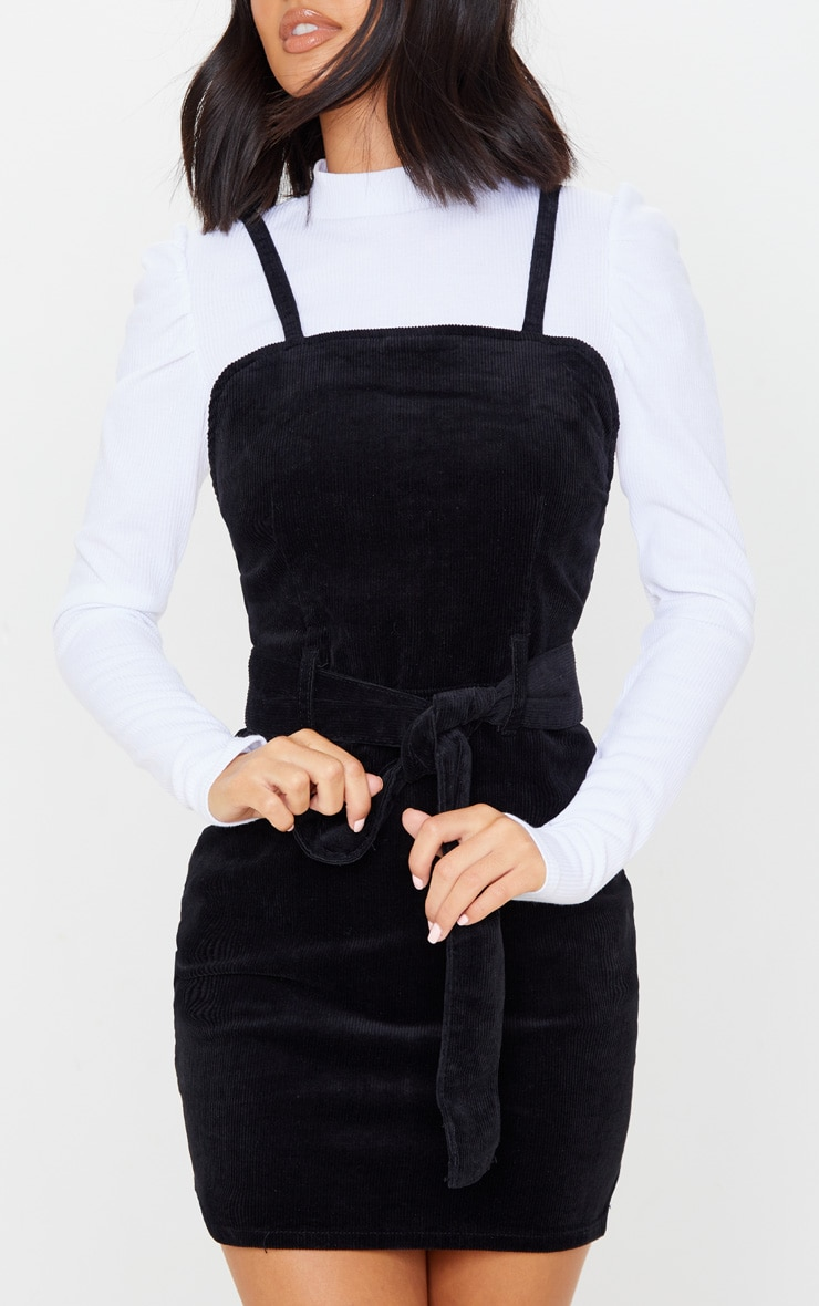 Black Cord Tie Denim Dress 5