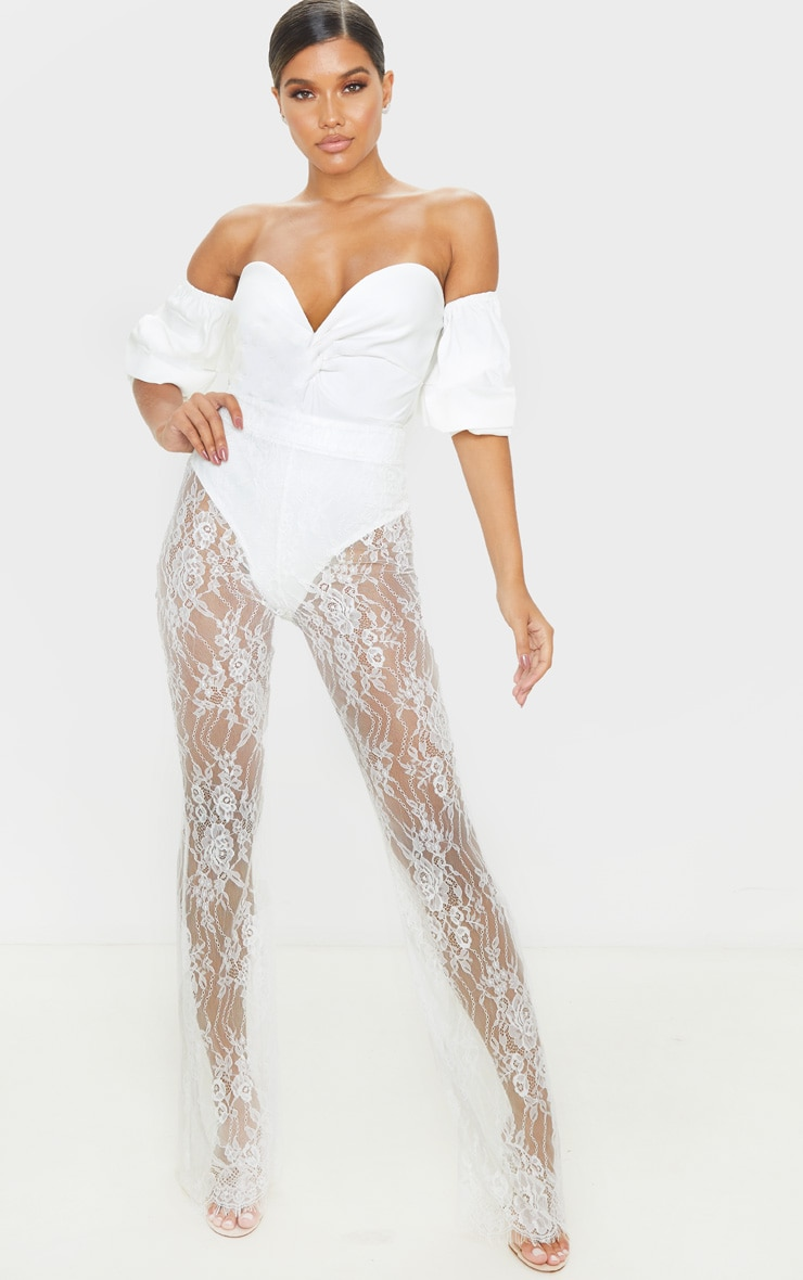 Cream Woven Bardot Ruched Bodysuit 5